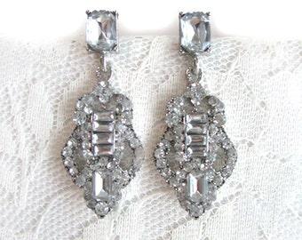 Art Deco Rhinestone Earrings Wedding Bridesmaid Dangle Bridal Jewelry Diamond Glamour Hollywood Dainty Small Regal Gift Her Formal Evening