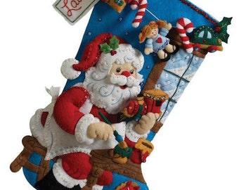 In the Workshop Stocking - Bucilla Felt Applique Kit - Christmas stocking felt kit - Santa Claus Stocking Felt Appliqué Kit - Bucilla Kit