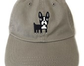 Boston Terrier embroidered baseball cap.