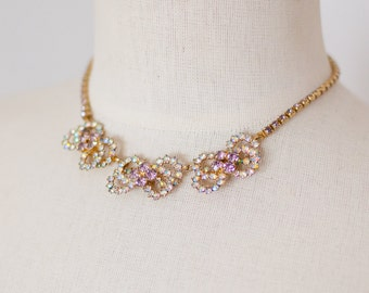 Vintage 1950s Wedding Necklace Blush Pink Rhinestone Choker Aurora Borealis AB Bows