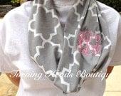 Monogrammed Scarf Cotten Jersey Quatrefoil knit Single Loop Infinity