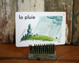 Vintage French Flash Card - Rain - Assemblage, Mixed Media, Altered Art
