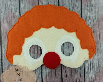 Clown felt mask, circus mask, children's mask