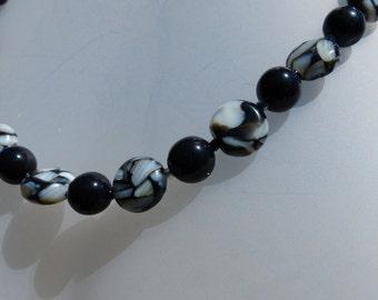 Black and white swirls necklace