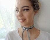 Velvet Ribbon, Velvet Choker,collar necklace, Victorian choker, grey velvet choker, ribbon choker, velvet ribbon, necktie