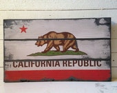 California Republic Flag, Handcrafted Rustic Wood Sign, Mountain Decor for Home and Cabin, 3067