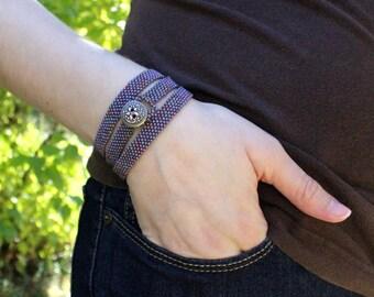 Purple Bronze Peyote Wrap Bracelet