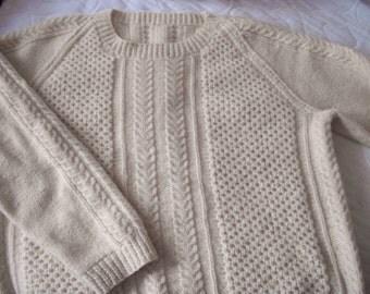 Beautiful HAND Knitted IRISH fisherman pattern sweater Pullover