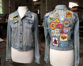 Patch Covered Jean Jacket