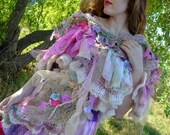 One of a kind Bohemian Romantic artsy crocheted shabby chic shawl gypsy mori girl Shrug one of a kind art to wear fairy shawl art to wear