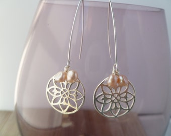 Fresh Water Pearls and Sterling Silver Flower Earrings uk made.