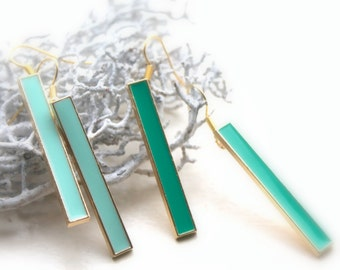 long geometric turquoise earrings