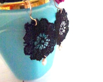 black lace and pearl earrings- sterling silver ear wires