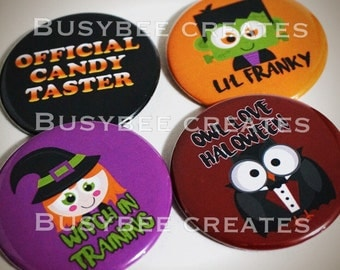 """Halloween Button Pins - Trick or Treat Favours - Frankenstein - Witch - Owl - Candy Theme Giveaways 2 1/4"""""""