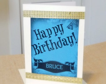 Personalized Birthday Card, Custom Made Birthday Card, Handmade Greeting Card With Your Choice of Name and Color