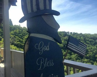 wooden hand made primitive Uncle Sam Americana Spirit of America God Bless America Uncle Sam Wall Plank