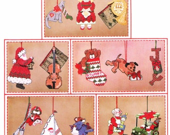Vintage Cross Stitch Patterns * CHRISTMAS TREE ORNAMENTS  Holiday in Motion Movable Cut Outs - Santa Claus Dog Cat Car Bear with Ski's