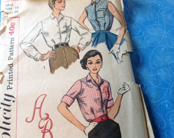 Vintage Simplicity pattern 2195, 50's blouse pattern