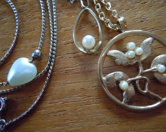 Faux Pearl necklaces lot of three