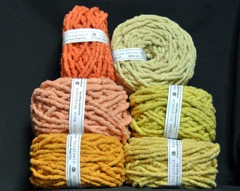 Hand dyed cotton Rug Yarn:  Orange, Golden Orange, Yellow or Butter