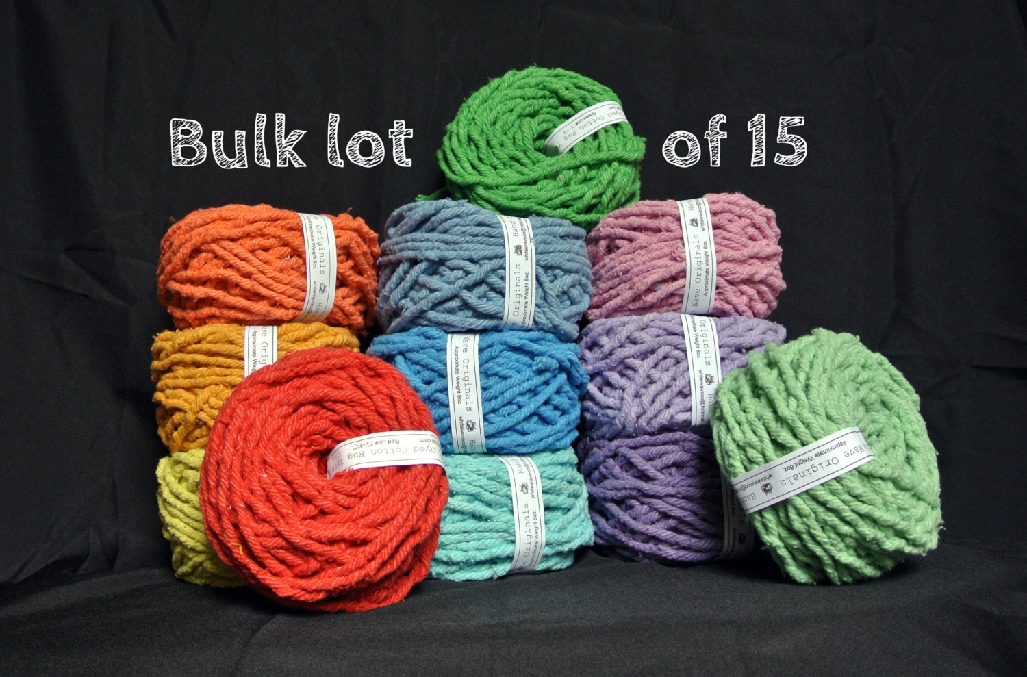 Hand Dyed Cotton Rug Yarn Lot Of 15 Your Choice Of Colors