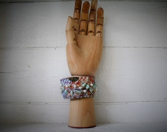 Bracelet Wrist Cuff, eco friendly - upcycled