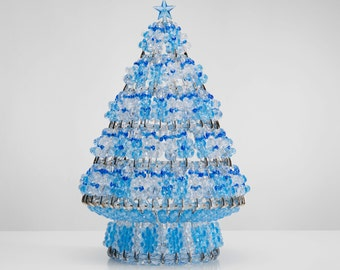 Blue Ice - Handcrafted Beaded Christmas Tree with Lights