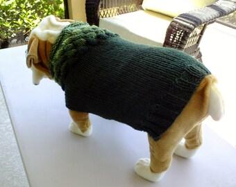 "Dog Sweater Hand Knit English Bulldog Forest Walk 18"" inches long Merino Wool"