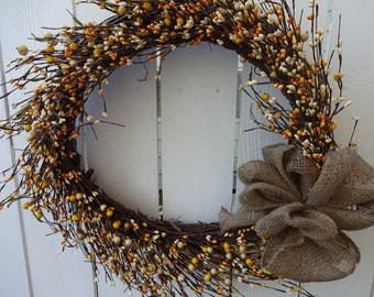 Autumn Wreath Autumn Pip Berry Wreath    Fall Decor  Front Door Wreath  Pip Berry Wreath   Hand Crafted Wreath  Holiday Wreath