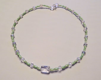 """Crystal mint single strand beaded wire necklace 17"""""""
