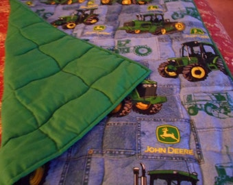 Handmade Baby Quilt- Big Green Tractors on Blue Unisex  Toddler Bed or Crib Size Quilt  Comforter Blanket