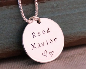 Tag with two names / Personalized Jewelry / Mommy Necklace / Hand Stamped Jewelry / Sterling Silver
