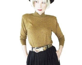 80s Vintage Top - Gold Tweed Knit - Long Dolman Sleeves - Power Shoulders