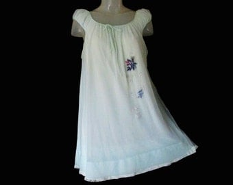 Vintage Baby Doll Nightgown - Miss Elaine Nightie - Chiffon Overlay - 1970s