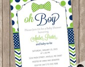 Oh Boy Baby Shower Invitation Bow Tie Little Man Navy and Lime Green Chevron printable invitation LNCP-B