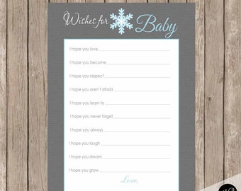 Snowflake wishes for baby, gray and blue wishes for baby, wishes for baby, wishes for baby, winter wishes for baby sf1  INSTANT DOWNLOAD