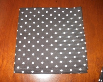 4 Black and White Polka Dot Cloth Napkins...17 inches...Stitched Hems Not Serged...FREE SHIPPING