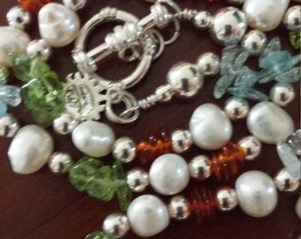 Freshwater Pearl and Crystal Nuggets Necklace with Sterling Silver Beads