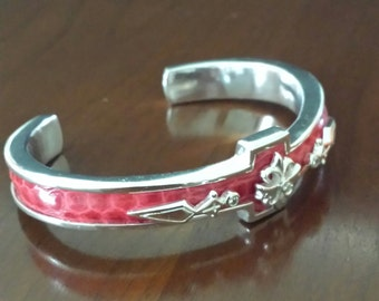 Sale...Sterling Silver Cuff with Inlaid Snakeskin