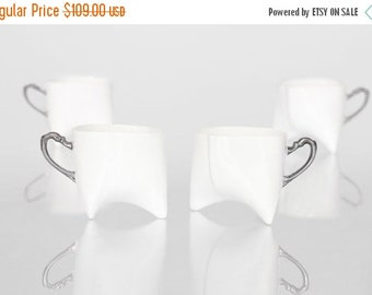 SALE Porcelain coffee cups set of four - unique coffee mug or tea cup white with platinum, contemporary ceramic mug, handmade by Endesign