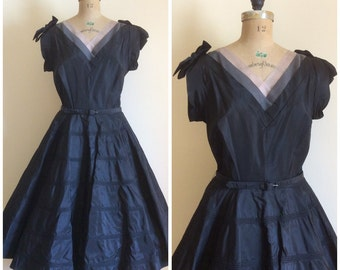 1950s Party Dress 50s Black Bows Organza Portrait Neckline