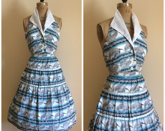 1950s Halter Top Skirt Dress Set 50s Paisley Novelty Print