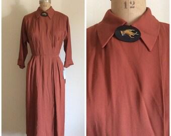 1940s R & K Gabardine Dress 40s Deadstock New With Tags