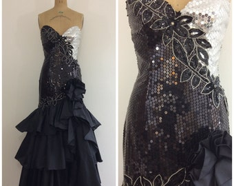 1980s Sequin Strapless Ball Gown 80s Party Dress Black Silver White