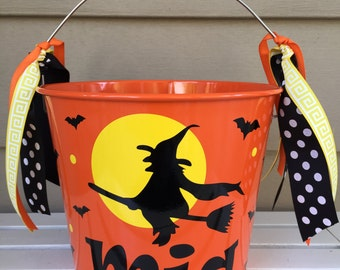 Halloween bucket - pail - trick or treat - Personalized Witch design