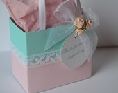 Pink and robins egg blue Party favor bags