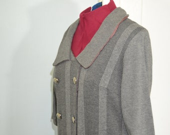 Gray Button Up Vintage Dress - L - XL