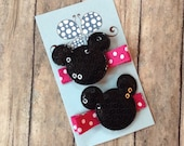 Mickey/Minnie Mouse Inspired Hair Clip Set-Sequin Mouse Ears-No Slip Hair Clip Set-Hot Pink