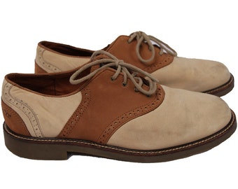 Tan Suede Saddle Shoes Size 8.5 Mens or 9.5 Womens Beige GH Bass Oxfords