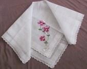 Burmel Lovely Sheer White Floral Embroidered Hankie Switzerland - Unused New